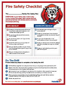 Fire safety plan checklist protection 1 for Fire prevention tips for home